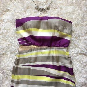 BR Strapless Striped Sheath Silk Cocktail Dress